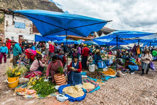 Pisac Market peruvian Andes Peru