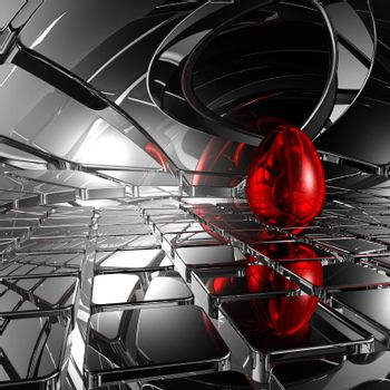 easter egg in futuristic space - 3d illustration