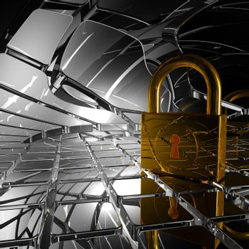 padlock in abstract space - 3d illustration