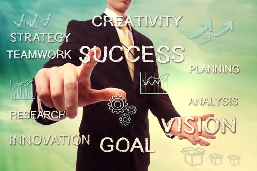 Success and creativity concept with businessman