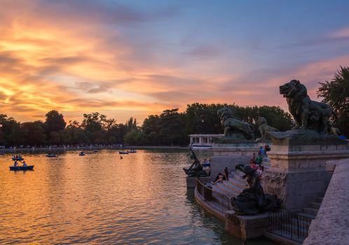 Lion sculptures in Buen Retiro park lake, Madrid