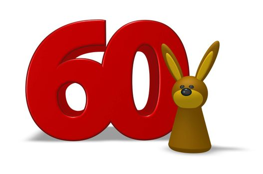 number sixty and rabbit - 3d illustration