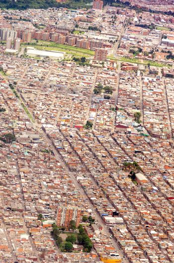 View of Bogota, Colombia as seen from an airplane