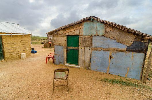 Wooden shack in a rural part of La Guajira, Colombia