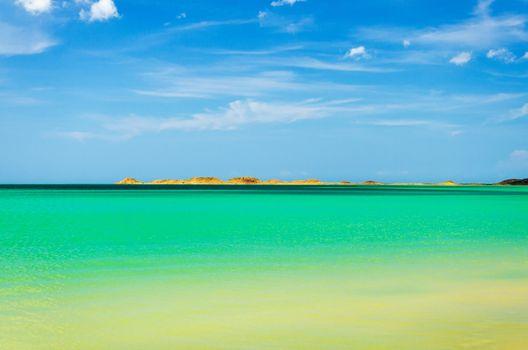 Beautiful green and turquoise water of the Caribbean Sea in La Guajira, Colombia