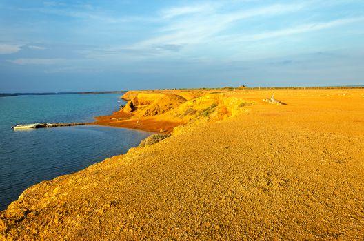 Early morning in a barren desert next to the Caribbean Sea in La Guajira, Colombia