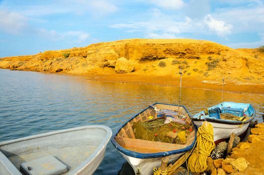 Three boats in Punta Gallinas in La Guajira, Colombia