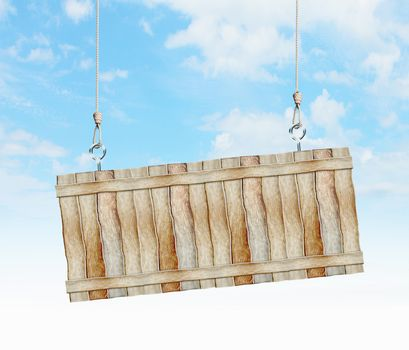 Image of wooden hanging blank banner. Place for text