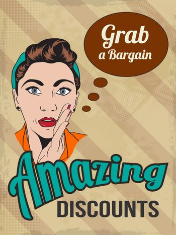 retro illustration of a beautiful woman and amazing discounts me