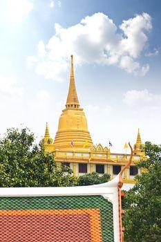 Golden mountain, an ancient pagoda at Wat Saket temple in Bangko
