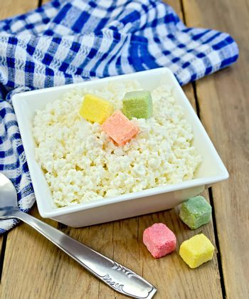 Curd with colored sugar