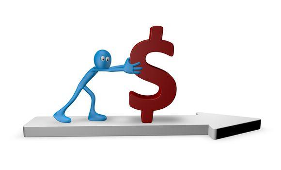 cartoon guy pushes dollar on arrow - 3d illustration