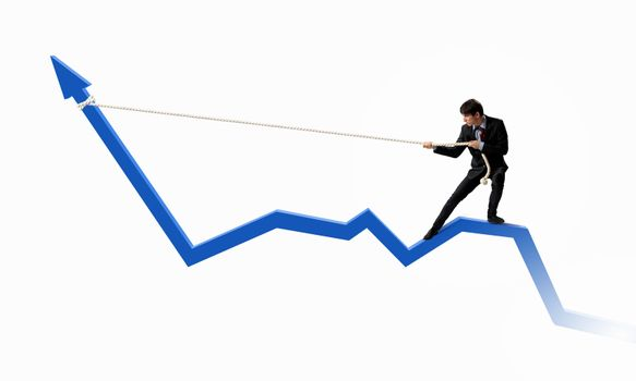 Image of businessman standing on graph and pulling it upwards
