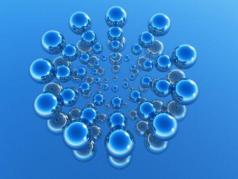 metal balls in 3 D rendering