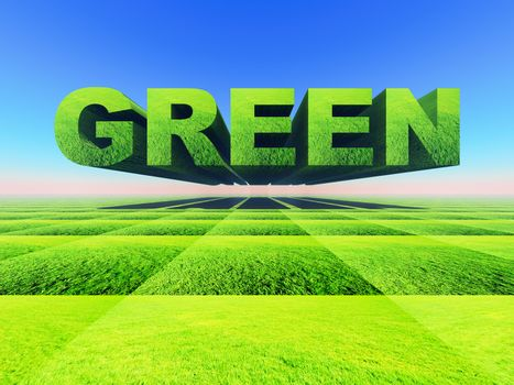 The word green made in 3D letters and grass texture