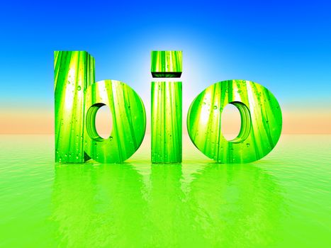 the word bio made in 3D letters