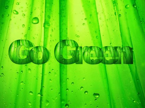 """the word """"go green """" made in 3 d letters"""
