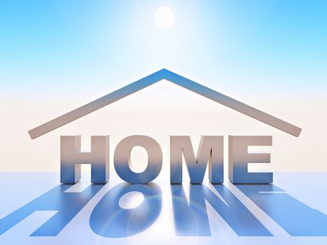 illustration of home in 3d letters