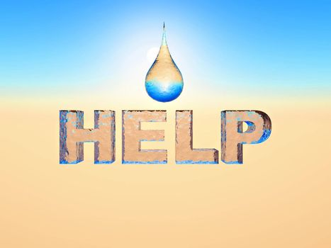 the word help in water texture