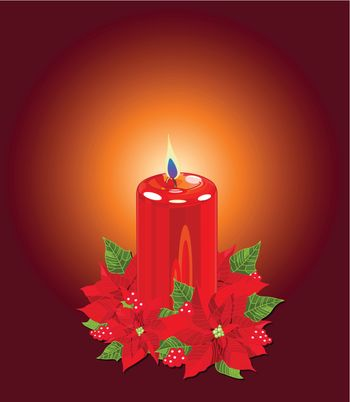 Christmas Candle with Poinsettias