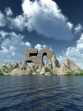 number fifty rock at the ocean - 3d illustration