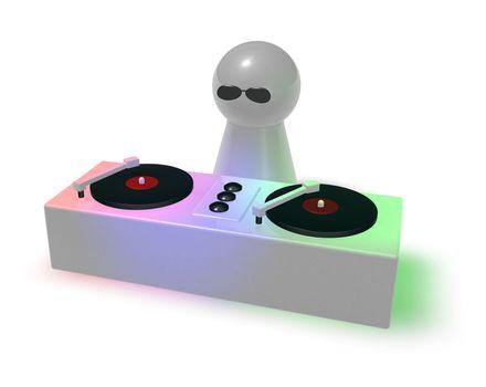 disc jockey on turntables - 3d illustration