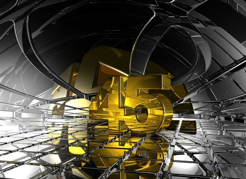 number forty five in abstract futuristic space - 3d illustration