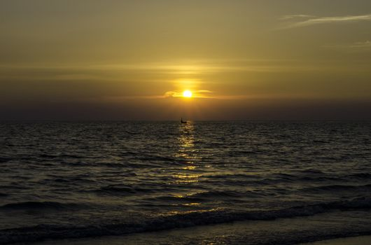 Yellow Sun Set in The Middle of The Ocean