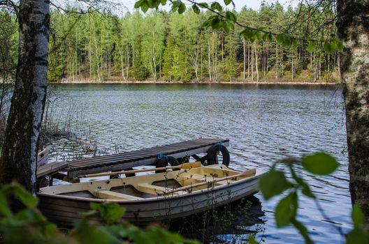 Rowing boat at a calm lake