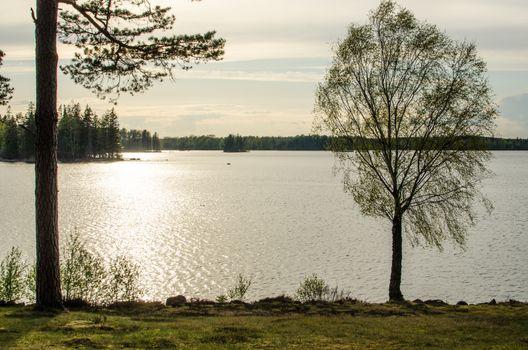 Calm lake in back light