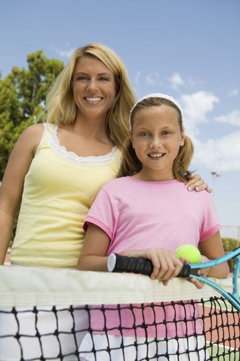 Mother and Daughter at Tennis Net portrait
