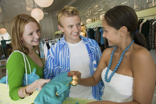 Friends Shopping at Clothing Store