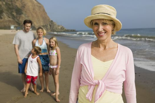 Grandmother with Family at Beach