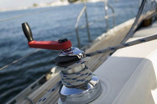 Closeup of winch on the sailboat