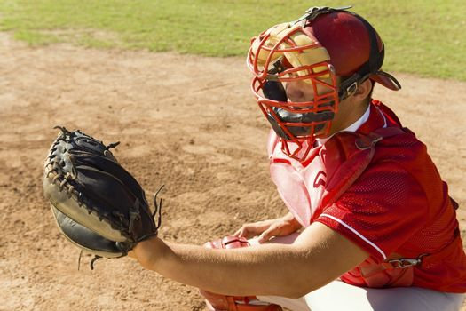 Baseball catcher ready to catch ball thrown by the pitcher