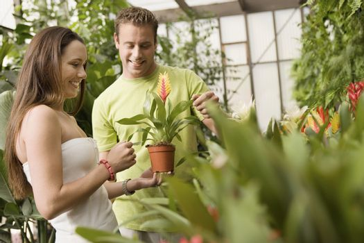 Happy young couple holding flowerpot at botanical garden