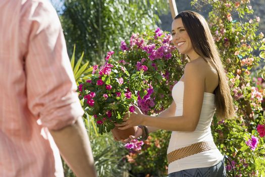 Happy woman with man selecting potted plant at botanical garden
