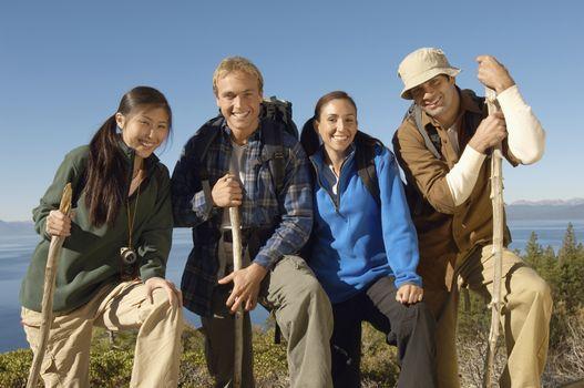 Portrait of happy friends hiking