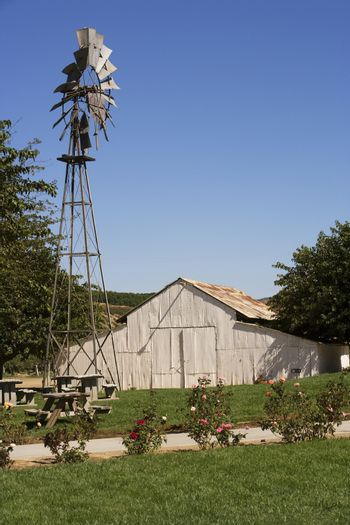 An outlying farm house with a windmill