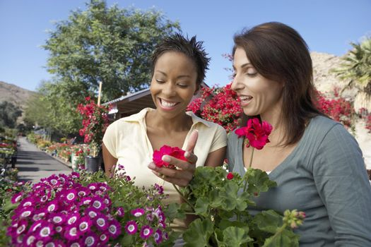 Two female friends looking at flowers in botanical garden