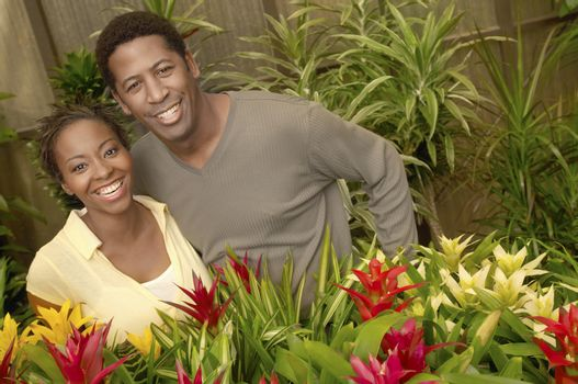 Portrait of an African American couple smiling at botanical garden