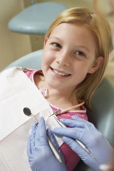 Girl Having Teeth Examined At Dental Clinic