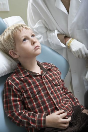 Little boy at dentist's clinic for routine check-up