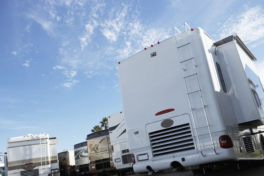Recreational vehicles parked at sales lot