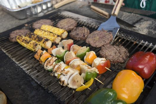 Skewer on barbecue with meat and vegetables