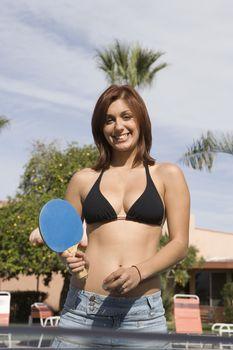 Portrait of Teenage Girl (18-19) Laying Ping-Pong
