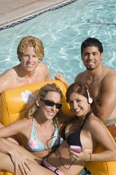 Happy Friends In Pool