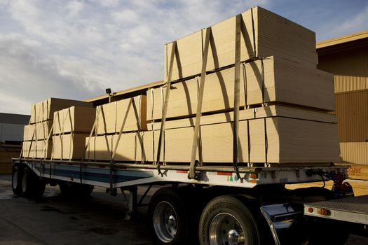 Wooden planks on trailer ready for export