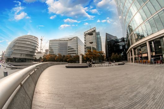Modern architecture and parks of London on the southern side of