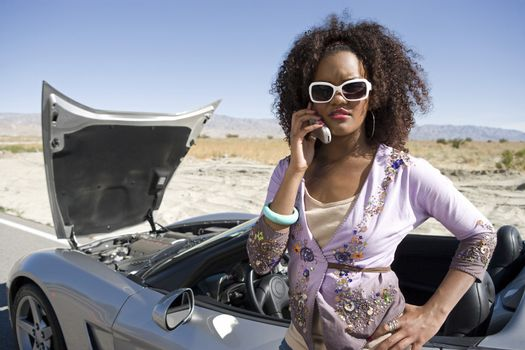 An African American woman calling for help